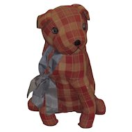RARE Early 1930s Straw Filled Fabric Covered DOG with Fully Jointed Neck!