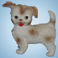 1960's Edward Mobley Rubber Squeaker Toy Dog with Brown Sleep Eyes and Jointed Neck!