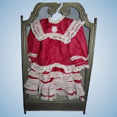 Cranberry Silk and Lace Drop Waist Dress for your Treasured French or German Bebe!