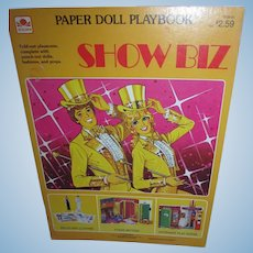 Vintage 1983 A Golden Book SHOW BIZ Fold Out Paper Doll Book Mint and Uncut!