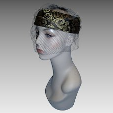 Vintage 1950's Women's Open Crown Black and Gold Brocade Hat with Veil!