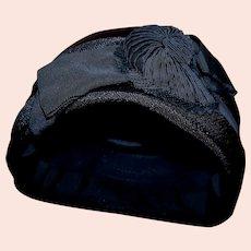 Stunning Women's Black vintage Pillbox Hat with fancy detailing!