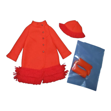 Vintage 1970 Barbie Tagged Fiery Felt #1789 Complete Outfit Mint & Unplayed With!