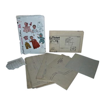 """Simplicity 1950's 3406 18"""" Baby Doll Pattern Uncut with Transfers and Instruction Sheet!"""