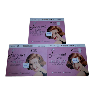 Vintage 1950's Set of 6 (3 Pkgs) Old Store Stock Jac-o-net nylon hairnets MINT!