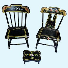 Vintage 1950's Pair of Pennsylvania Dutch Black Lacquered Hand Painted Doll and Doll House Chairs and Ottoman!