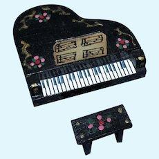 RARE Tiny 1950's Pennsylvania Dutch Black Lacquered Doll House Miniatures Piano with Original Bench!