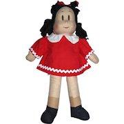 "1944 Georgene Novelties 15"" Little Lulu Cloth Comic Strip Character Doll All Original!"