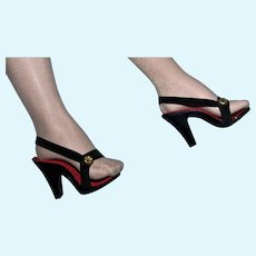 Beautiful 1950's Black and Red  High Heels for Madame Alexander Cissy!