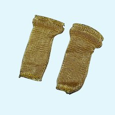 Rare  Factory Mint Gold Rayon Socks for hard plastic and compo doll!