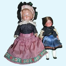 Adorable Pair of Antique German Celluloid Dolls in Original Costumes Clothing!