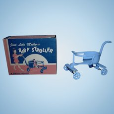 Vintage 1950's Jeryco Baby Blue Stroller Mint in Box for your little one!