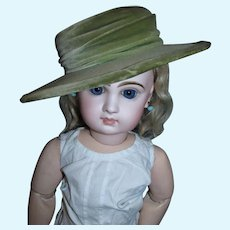 Antique Olive Green Hat with Velvet Hat Band for your larger German or French Bisque Doll!