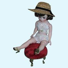 Vintage 1950's Cissette Natural Straw Hat with Black Velvet Hat Band and Scalloped Edge!