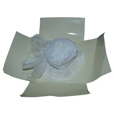 Tonner White Embroidered Lace Hat Mint on Card Acquired from the Tonner Factory Sale!