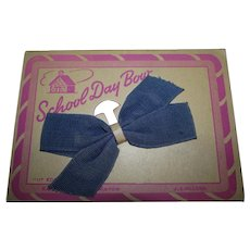 Vintage 1950s School Day Blue Hair Bow Mint on Card for your treasured Doll!
