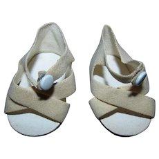 "Vintage 1950s 16"" Saucy Walker Beige Suedecloth Center Snap Shoes Pristine MINT!"