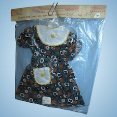 """Vintage 1950s Premier Cotton Print Dress for 18-19"""" Dolls Mint in Package and NRFP (Never Removed From Package)"""