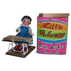 RARE 1960's Little Performer Petite Artiste Doll Wind-Up Toy MINT in Box Unused!