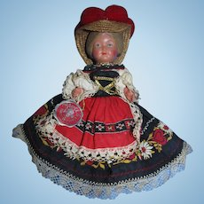 "Vintage 9""  Trachten-Puppen Germany Plastic Celluloid Doll All Original!"