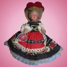 "Vintage 9""  Trachten-Puppen Germany Plastic Celluloid Doll All Original!"
