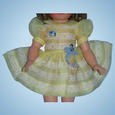 """Organdy and Lace Party Dress with Attached Slip for 15"""" Shirley Temple MINT!"""