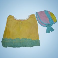 Adorable 1930's Dress and matching Fancy Bonnet for your composition baby or toddler doll!