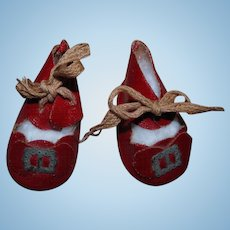 """Desirable 1930's RED Oilcloth Shoes with Buckles for 15-16"""" Ideal Shirley Temple!"""