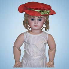 """Brick Red Polished Cotton Sun Bonnet for your 24"""" Jumeau and other Dolls!"""