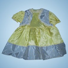 Vintage 1950's  Factory Bolero Yellow/Blue Taffeta EASTER Dress for Toddler Doll Mint and Unused!