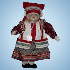 """1930's Russian 10"""" Cloth Girl Doll label Made in Soviet Union!"""