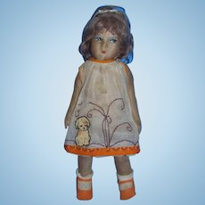 1930s Lenci Type Cloth Doll with Puppy Dog Motif Dress!
