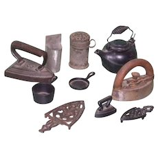 Huge Lot includes Rare Cast Iron Miniatures SAD Iron, Kettle, Trivets, etc!
