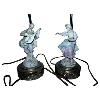 Pair of 1930s Porcelain Figural Lamps!