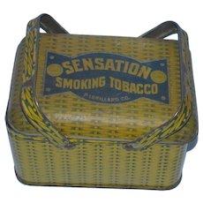 Vintage P. Lorillard Co. Sensation Smoking Tobacco Tin with Handles!