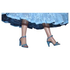 6 Pair of Vintage Blue High Heels for 18 and 20 inch Revlon