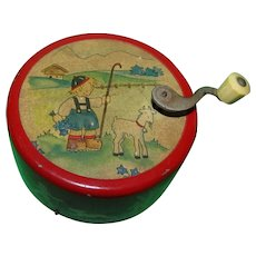 Vintage 1930s Hand Wind Music Box with Graphics Made in Switzerland!