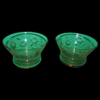 Pair of Vintage Rose of Sharon Pink Depression Glass Dessert Cups