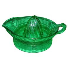 Vintage Green Depression Glass Orange Juicer