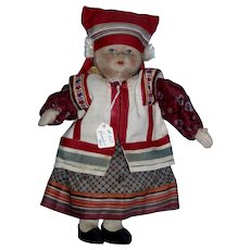 """Vintage 1930s Russian 10"""" Cloth Girl Doll with label Made in Soviet Union All Original!"""