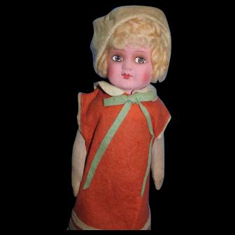 "Antique 1920's German Papier Mache Cloth 19"" Orange Maid Doll all original!"