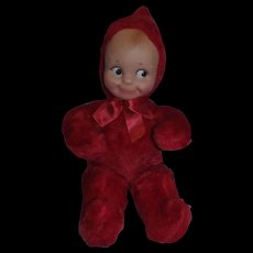 """Knickerbocker 1960's 12"""" Rose O'Neill Cameo Doll Co. Tagged Plush Red Kewpie with Rubber Face!"""