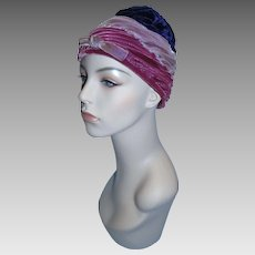 Stunning vintage women's multi-color Velvet Cloche Hat!