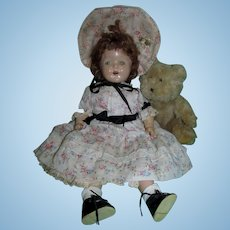 "Very Sweet 17"" Composition and Cloth Doll with Tin Eyes in Dress and Bonnet Outfit!!"