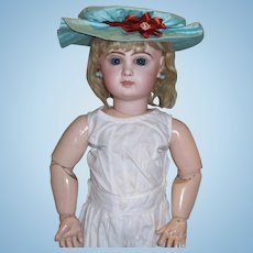"Aqua Polished Cotton Sun Bonnet for your 24"" Jumeau and other similar sized dolls!"