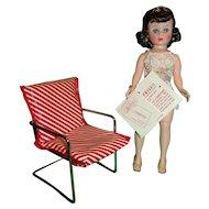 Vintage 1950s WATKO Red Striped Doll Chair!