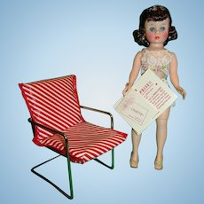 Vintage 1950s WATKO Red Striped Doll Chair!