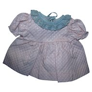 1950's Factory Pink Embossed Cotton & Blue Eyelet Lace Dress for Baby Crisp, MINT and Unused!