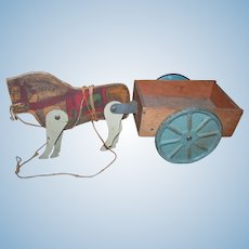 Antique Doll Toy Horse and Wagon of Wood and Metal Construction!