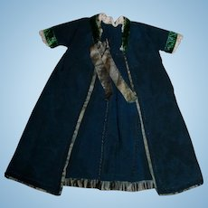 Antique Hand Sewn Dark Green Doll Coat/Robe with hook and eye closure!
